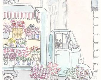 French Flower Truck art print of original illustration - French print, flower print