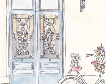 Paris Cat on Bicycle Tour de Kitty print Illustration - Paris Ink Blue Doors and Cycling Cat art print, Paris print Doors and Bicycle Cat