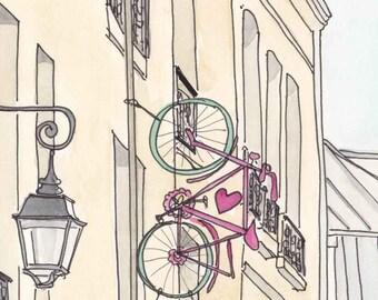 Paris Bicycle Romance art print - Paris print Love Bicycle illustration