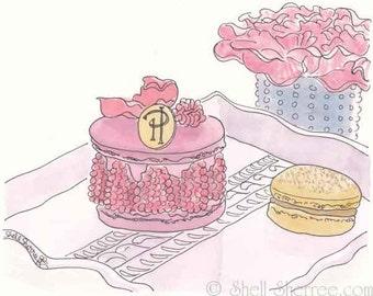 Pink Macarons Art Print with Pink Flowers - Pierre Herme Ispahan -  Rose Pink - pastry art print, Macaron print