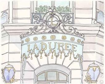 Laduree Paris art print, Laduree painting, Paris Laduree Champs-Elysees print of original ink and watercolour illustration painting,
