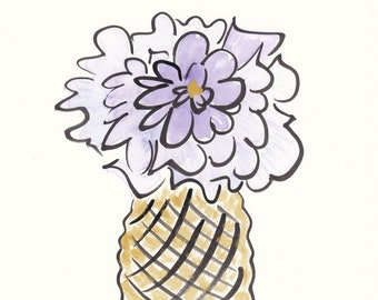 Original flower painting Purple Flower in Gold Pineapple Pot