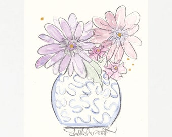 Floral wall art Blue Ginger Jar Squiggles with Flowers - original watercolour and charcoal flowers for wall