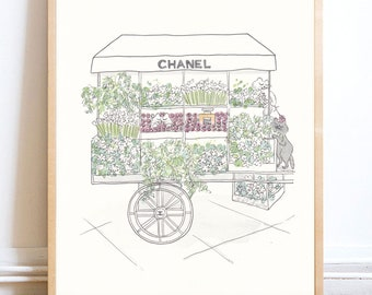 Chanel Flower Cart with Cute Cats print giclee - Paris print, French art print