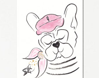 French Bulldog with Beret and Stripes original ink painting with watercolours