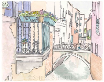 Venice Painting Print, Micio Cat on Venice Balcony art print, Venice art, Venice Cat Art, Cat painting print, Italy art, travel art