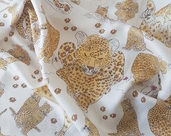 Italian silk scarf Lovely Leopards - hand illustrated leopards design