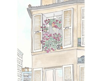 French Shutters and Architecture Flowery Paris print illustration