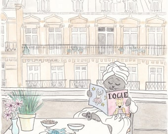 Bathrobe Cat in Paris with Buildings View art print giclee - French art print
