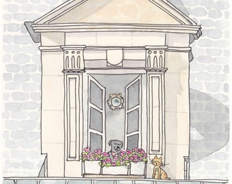 Paris Window with Sweet Dog and Cat - French art, Paris print from original ink and watercolour illustration