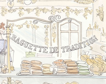 Paris bakery print, Pain de Campagne illustration, French bakery print, French art, French art shop