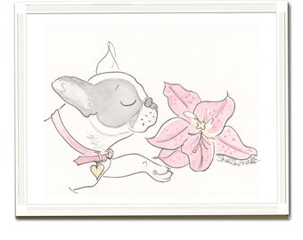 French Bulldog Pretty Black and White with Pink Lily - Miss Olive and the Lily - Frenchie art, Frenchie illustration