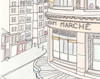 Paris print, Bon Marche Street Scene, Paris illustration, French print, French art, French art shop