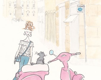Paris print Scooterjacking Cat with Fashionable Mum print giclee of illustration