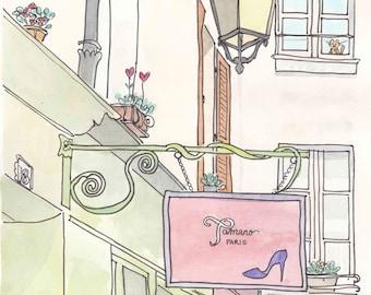 Paris Shoe Shop art print - French wall art