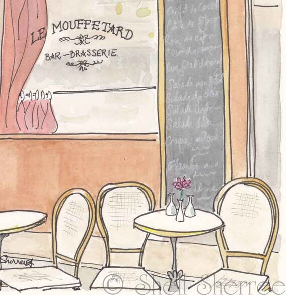 Paris Cafe art print Le Mouffetard, Paris illustration, Paris giclee, Paris print, Paris cafe, Paris art, Cafe in Paris painting Mouffetard