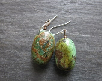African Turquoise Earrings Sterling Silver Green Turquoise Earrings Turquoise Dangle Drop Earrings Large Green Stone Earrings Boho Earrings