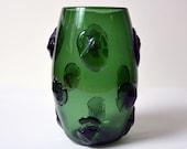 vintage EMPOLI VERDE GLASS blob vase Italy Italian