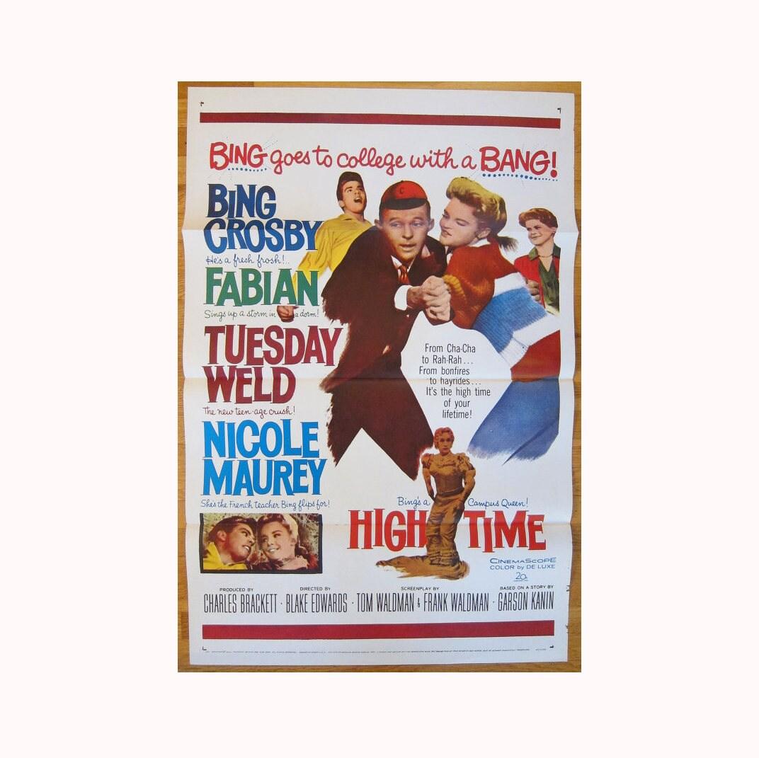 affiche du film vintage 1960 originale high time bing crosby etsy. Black Bedroom Furniture Sets. Home Design Ideas