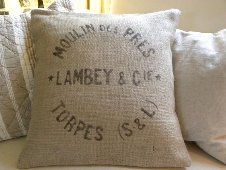 Burlap hessian replica French grain sack pillow cover image 0