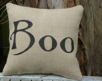 Halloween Boo burlap accent pillow cushion