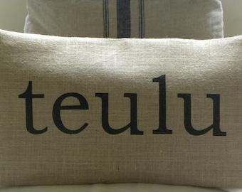 Welsh teulu family burlap pillow hessian cushion cover