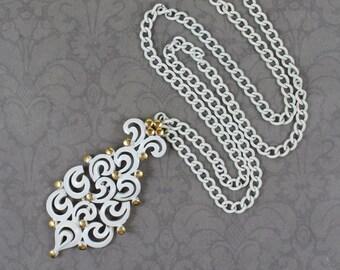 Vintage White Enamel and Gold Monet Filigree Necklace