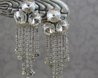 Vintage Multi Strand Dangle Triple Rivoli Rhinestone Silver Clip On Earrings