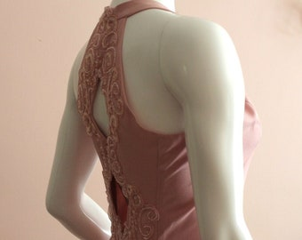 Vintage Mid 1990s Scott McClintock Dusty Rose Pink Sequin Halter Style Dress with Back Detail