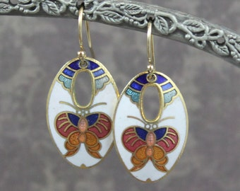 Vintage Ivory, Green, Blue, Orange and Gold Butterfly Cloisonné Oval Drop Pierced Earrings