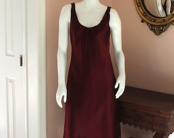 Vintage 1990s Burgundy Red Satin Mica Size 6 Rhinestone Accented Dress