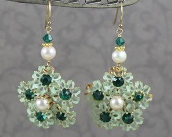 Vintage Mint Green Enamel Filigree Flower Green Rhinestone and Pearl 14k Gold Fill Earrings