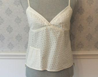 Vintage 1990s White Eyelet Polka Dot Emporio Armani Camisole Sleeveless Top