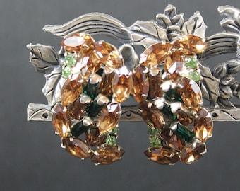 Vintage Mid Century Brown, Emerald and Peridot Green Rhinestone Twist Clip On Earrings