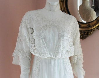 Antique Edwardian 1900s White Cotton Cut Work Lace Lingerie or Summer Dress