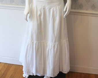 """Vintage Victorian Style White Cotton Long Ruffled Petticoat or Skirt 32"""" Waist"""