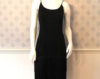 Vintage 1990s BB Collection Black Crepe Sleeveless Fringed Dress