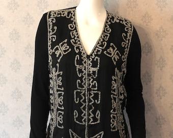 Vintage 1990s Other Destination Beaded Black Vest