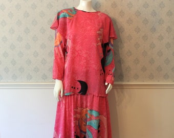 Vintage 1980s Abstract Pink, Peach, Purple, Aqua and Black Silk 2 Piece Skirt and Blouse Outfit
