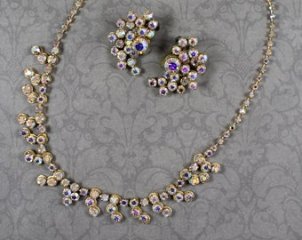 Vintage Gold and Clear AB Rhinestone Necklace and Earrings Set