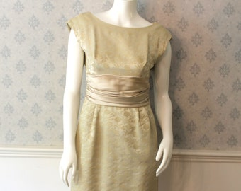 Vintage 1950s to 1960s Ivory Brocade and Satin Dress