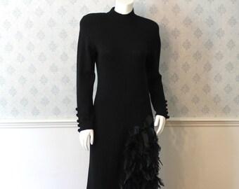 Vintage Don Sayres for Wellmore Long Sleeve Black Knit Feathered Trimmed Evening Dress