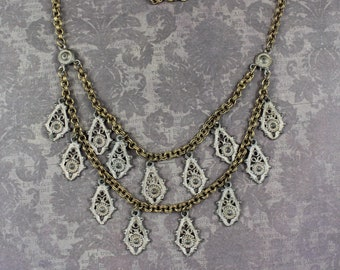 Victorian Gold and Silver Two Tone Double Strand Teardrop Filigree Necklace