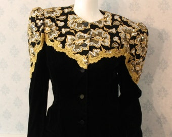 Vintage Jessica McClintock 1980s to 1990s Black Velvet and Gold Embroidered Jacket and Skirt Suit