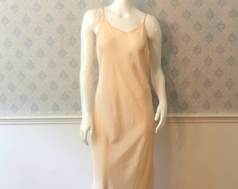 Reserved: Vintage 1930s Women's Peach Long Bias Cut Silk Slip with Adjustable Straps