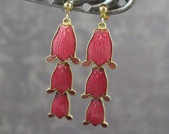 Vintage Pink Enamel FISH Cloisonne Dangling Pierced Flower Earrings