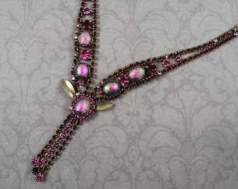 Vintage Garnet Red and Fuchsia Rhinestone, Art Glass and Bronze Leaf Tassel Y Necklace