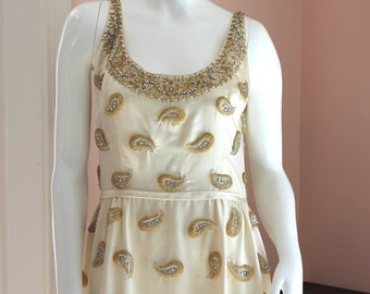 Vintage 1960s Cream Satin Gold and Silver Beaded Floor Length Sleeveless Gown