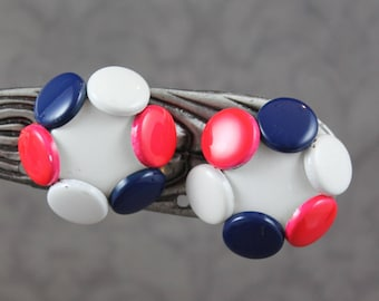 Vintage Red, White and Blue Enamel Circle Clip On Earrings