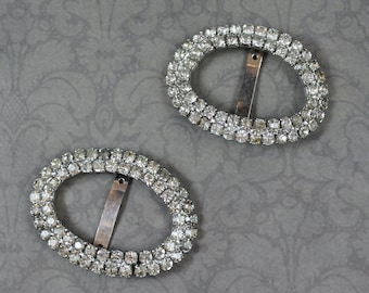 Pair of Vintage Clear Rhinestone Silver Tone Double Row Shoe Buckles